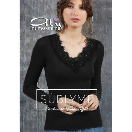 Maglia donna Sublyme costina The luxury cashmere ultra light V pizzo