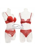 Completino intimo donna in pizzo rosso push up +2 taglie Opulenta Fatata Lormar