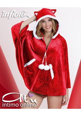 Poncho con zip in coral rosso sparkling Infiore Biscuits BIS1001