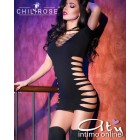 Mini abito clubwear nero ChiliRose CR4169